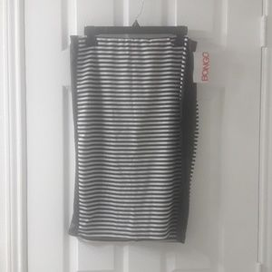 Bongo black and white striped leather panel skirt